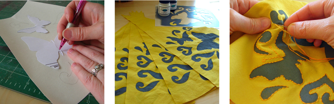 make stencils and hand stitching