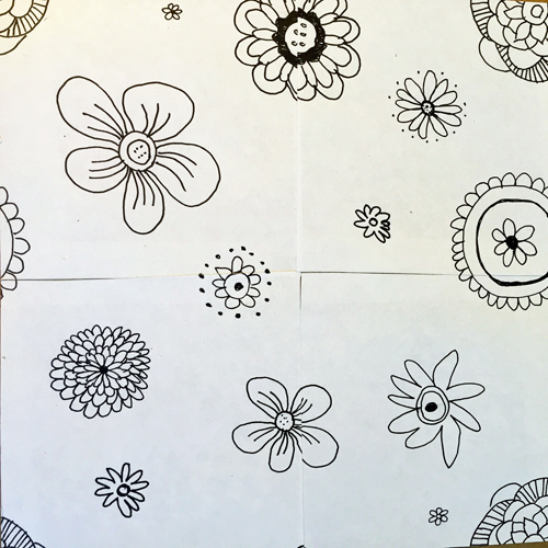 10. Draw more flowers to balance out the design. And you now have a repeat pattern that can be digitized, multiplied and colored!