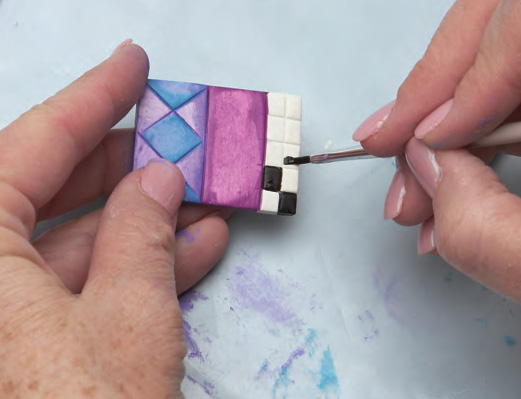 Painting polymer clay tiles create mixed media for Clay mural tutorial