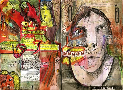 Ale Motl art journals, spread 1