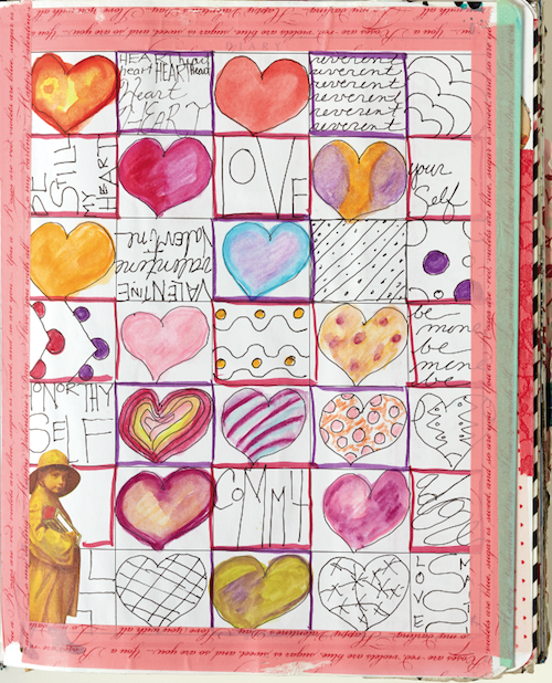 Heart themed grid