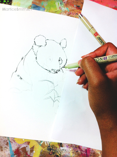 STEP 1: Choose an image you want to draw and paint. I chose to illustrate one of my favorite animals—panda bears! First, sketch the image on Yupo paper with a pencil using light pressure. (Use a reference image to help you with proportions.) When your sketch is complete, trace over the lines with a Micron pen.