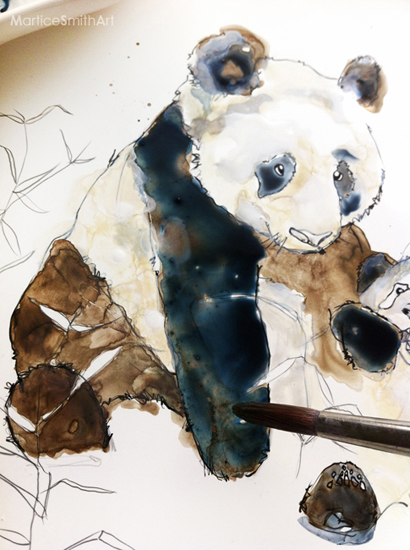 STEP 4: Add a third layer of color If you study colors, you will know that each color has many different tints and shadows, and also, a mixture of reflective color and highlights.  The fur on pandas isn't just flat black and white; there's a beautiful spectrum of color! I've added some Prussian Blue, Raw Umber and later I'll be adding a splash of purple!  When sunlight hits black fur, you'll discover deep blue in the shadows and cool purple in the highlights. Very neat, right? (TIP: Let every single layer of paint thoroughly dry before adding the next color. Paints that mix will become muddy and dull the color intensity.)