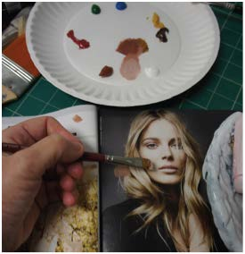 Practice skin tones by mixing paint and applying to a magazine photo.