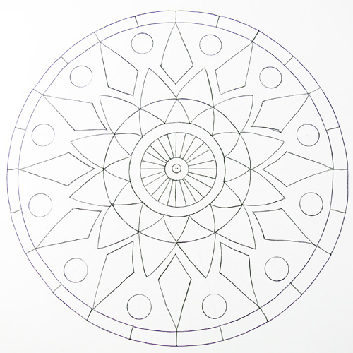How to draw a mandala using grids create mixed media for How to draw the flower of life step by step
